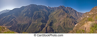 Colca canyon on noon - panorama shot into the valley