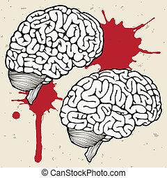 Human brain and a drop of blood, vector illustration