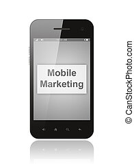 Smart phone with mobile marketing button on its screen isolated on white background.