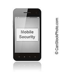 Smart phone with mobile security button on its screen isolated on white background.