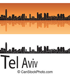 Tel Aviv skyline in orange background in editable vector...