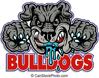 drooling bulldog with claws