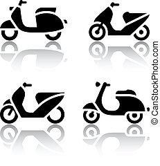Conjunto, transporte, iconos, -, patineta, ciclomotor