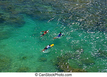 Surfers paddling out to the Indian Ocean from Uluwatu beach,...
