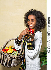 Ethiopian woman - Young pretty Ethiopian woman wearing...