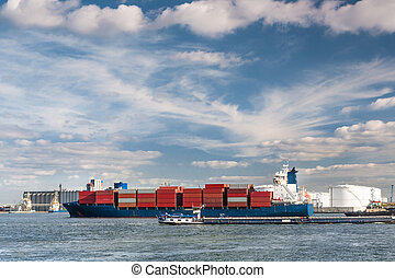 Container ship in Antwerp port - Large container ship...