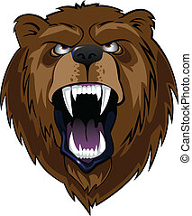 grizzly head - An illustration of the head of a grizzly,...