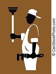 plumber - A black and white silhouette of a plumber wearing...