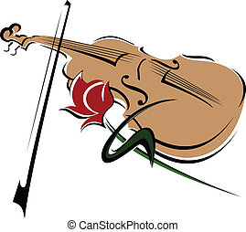 rose and violin - stylized drawing of a rose and violin with...