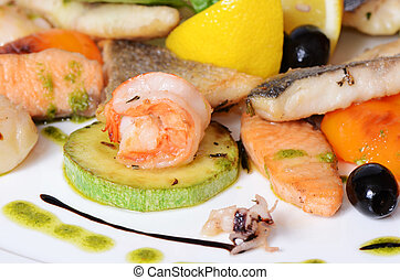 Allsorts from fish and seafood A restaurant dish