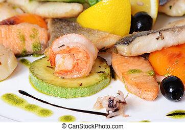 Allsorts, pez, mariscos, Un, restaurante, plato