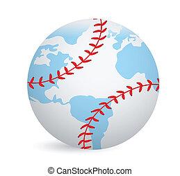 World globe baseball ball concept illustration design over...
