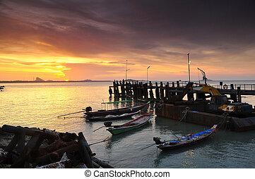 sunset sea pier