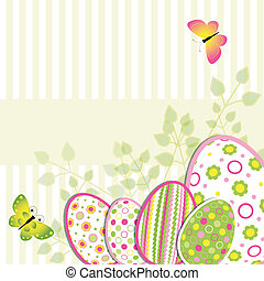Colorful Easter holiday illustration on flower background