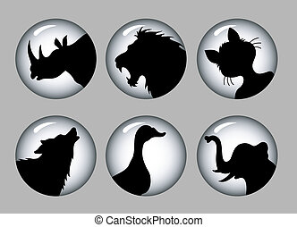 Animal silhouettes 1 black & white - 6 animal silhouettes...