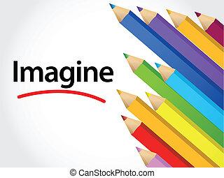 Imagine Multicolored pencils illustration design over a...