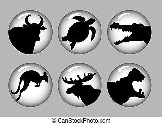 Animal silhouettes 3 black & white
