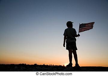 niño, joven, bandera