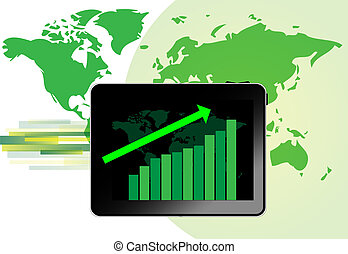 Tablet with graph for growth with green world map background