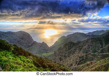 Sunset in North-West mountains of Tenerife, Canarian Islands