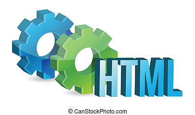 HTML industrial gears concept illustration design over a...