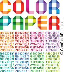 Spectral alphabet folded of paper ribbon colour - Spectral...