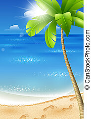 Tropical beach with palm tree - Illustration of a tropical...