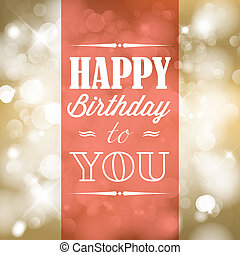 Happy birthday retro vector illustration with lights in...