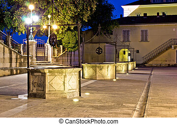 Five wells square in Zadar night view, Dalmatia, Croatia