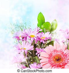 spring pink flowers - Tender spring pink flowers on blur...