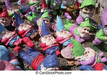 muitos, jardim, gnomes