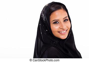 Pretty Muslim woman head shot - pretty young Muslim woman...