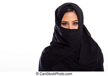 young Muslim woman - portrait of young Muslim woman on white