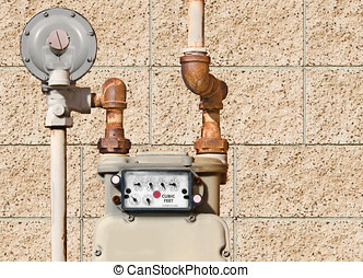 Residential natural gas meter - Home gas meter and rusty...