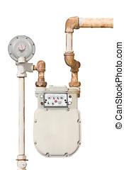Home gas meter - Domestic natural gas meter and rusty pipes...