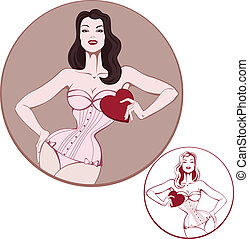 young attractive woman on lingerie hold a heart card - Young...