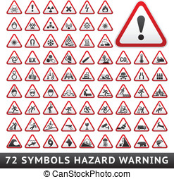 Triangular Warning Hazard Symbols. Big red set, vector...
