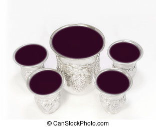 Cups of wine for the Passover seder - Five shiny, decorative...