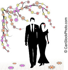 Spring Wedding - Spring wedding illustrated with silhouettes...