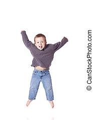 Cute boy jumping - Cute little boy jumping up
