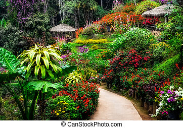 Landscaped colorful and peaceful flower garden in blossom -...