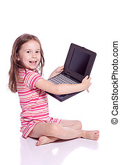 Cute girl with a laptop