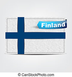 Fabric texture of the flag of Finland with a blue bow.