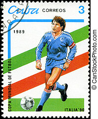 CUBA - CIRCA 1989: stamp printed by Cuba, shows 1990 World Cup Soccer Championships Italy, circa 1989.
