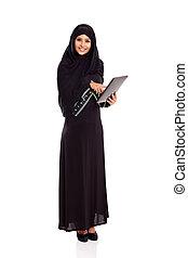 moderne, arabe, femme, tablette, informatique