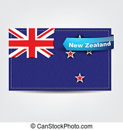 Fabric texture of the flag of New Zealand with a blue bow