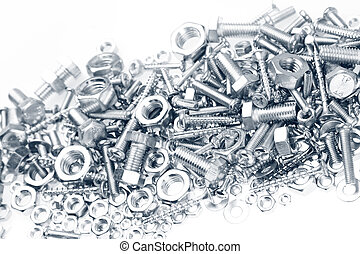 Nuts and bolts - Chrome nuts and bolts closeup on plain...