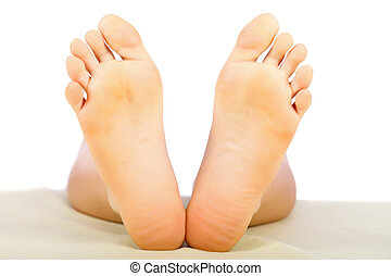 Healthy Lady Feet - Clean and healthy woman feet isolated on...