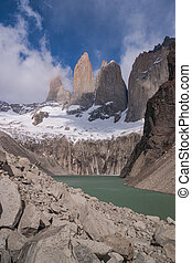 Torres del paine in Chilean National Park with lake