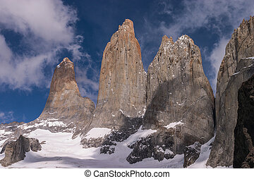 Torres del paine in Chilean National Park detail